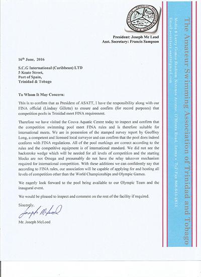 国际泳联场地认证 --特立尼达和多巴哥体育中心游泳中心